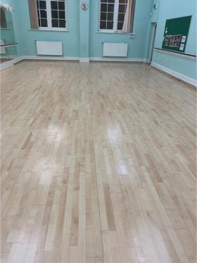 Our sprung floor in the Navigation Colliery Room (old Dance Studio) looking fabulous after having some tender loving care....... sanding and revarnish :)
