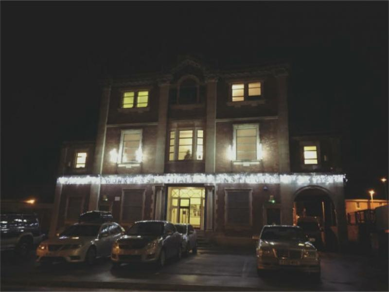 The hall lit up for New Year's Eve
