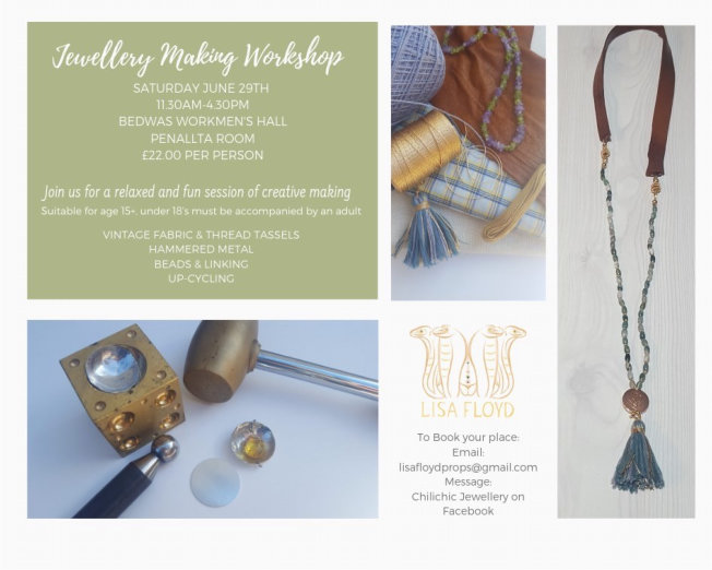 Jewellery making workshop at Bedwas Workmen's Hall